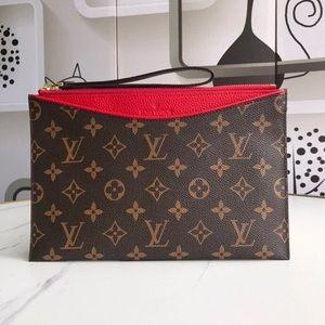 Louis Vuitton pallas clutch red monogram